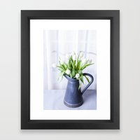 A Pitcher of Tulips - White Flowers Framed Art Print