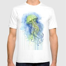 Jellyfish Watercolor   Sea Creatures SMALL Mens Fitted Tee White