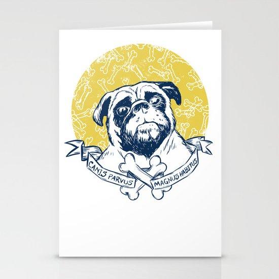 Pug : Small dog, big attitude. Stationery Card