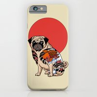 iPhone Cases featuring Yakuza Pug by Huebucket