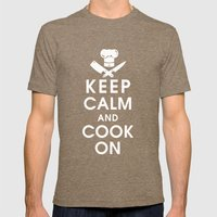 Keep Calm and Cook On Mens Fitted Tee Tri-Coffee SMALL
