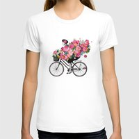 floral bicycle  Womens Fitted Tee White SMALL