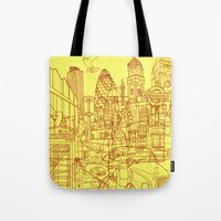 London! Yellow/Red Tote Bag