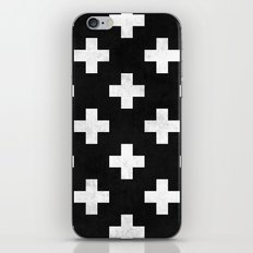 Black and white swiss cross pattern iPhone & iPod Skin