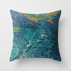 Ocean Depth abstract painting photograph Throw Pillow