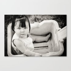 baby in wagon Canvas Print