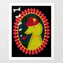 smoking hound Art Print