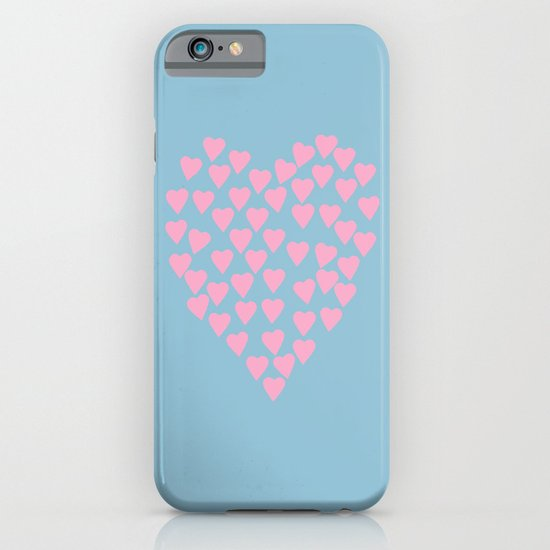 Hearts Heart Pink on Blue iPhone & iPod Case