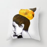 Throw Pillow featuring The Bee Hive  by Jenny Liz Rome
