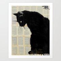 CAT BLACK Art Print
