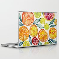 watercolor Laptop & iPad Skins featuring Sliced Citrus Watercolor by Cat Coquillette
