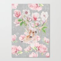 Deer Head & Magnolia's  Canvas Print