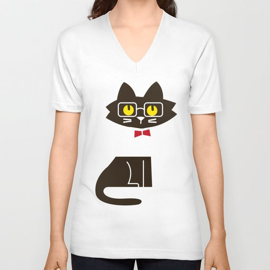 Fitz - Preppy cat V-neck T-shirt