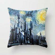 Starry Night Over Atlantis Throw Pillow