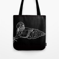 Tote Bag featuring On the the various sensual mating rituals used by mermen.  by Michael C. Hsiung