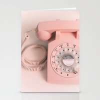 vintage PHONE pink Stationery Cards