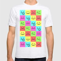 Smiley Chess Board Mens Fitted Tee Ash Grey SMALL