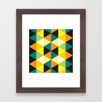 Teal, mustard, black & yellow triangles Framed Art Print