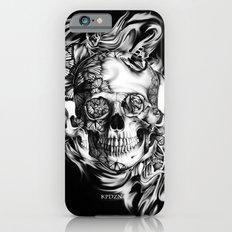 Butterfly smoke skull on black base.  iPhone 6 Slim Case