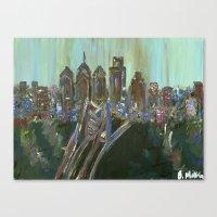 Earth-tone Philly Skylin… Canvas Print