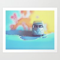 Silver VW Bus Art Print