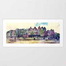 Nottingham panorama city watercolor Art Print