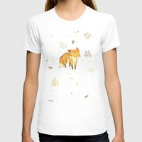 face T-shirts featuring Lonely Winter Fox by Teagan White