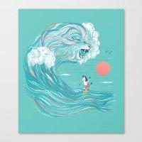 surfing zebra Canvas Print