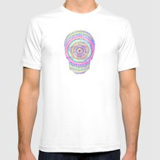 divisionism skull mandala White Mens Fitted Tee SMALL