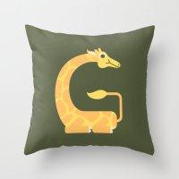 Letter G // Animal Alphabet // Giraffe Throw Pillow