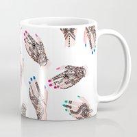 Modern watercolor henna tattooed hands pattern  Mug