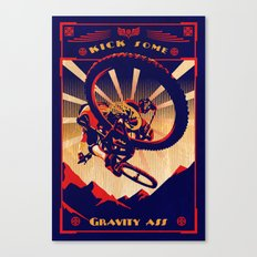 retro mountain bike poster: kick some gravity ass Canvas Print