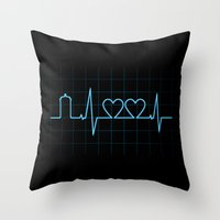 Two Heartbeats Throw Pillow