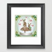 Snow Globe Deer Framed Art Print