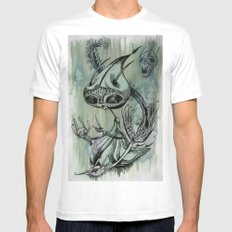 re; 6 White Mens Fitted Tee SMALL