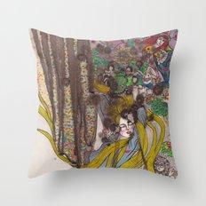 Alice in Wonderland - Strange Dreams / Original A4 Illustration / Ink & Watercolor Throw Pillow