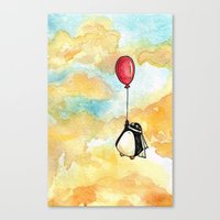 Penguin and a Red Balloon Canvas Print