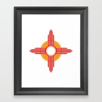 New Mexico Zia - Red Framed Art Print