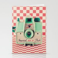 Mint Retro Camera On Red… Stationery Cards