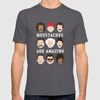 Moustaches Are Amazing Mens Fitted Tee Asphalt SMALL