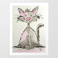 Watercolor Kitty Cat Art Print