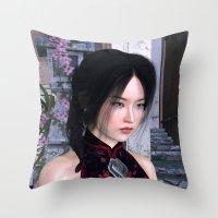 Asian Beauty Throw Pillow