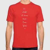 BE STILL - B & W Mens Fitted Tee Red SMALL