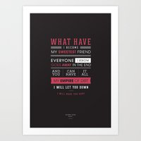 Lyrical Type - Hurt Art Print