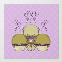 Cute Monster With Yellow And Purple Frosted Cupcakes Canvas Print