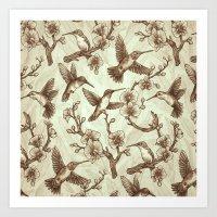 Sepia Hummingbird Patter… Art Print