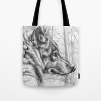 Wolf in woods G082 Tote Bag