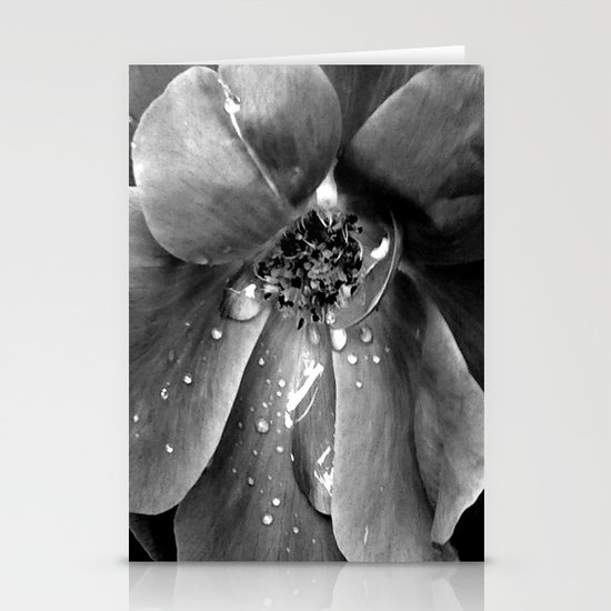 B&W flower Stationery Card