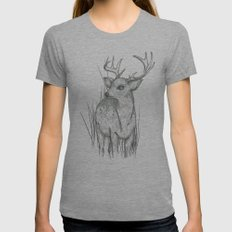 White-Tailed  Womens Fitted Tee Athletic Grey SMALL