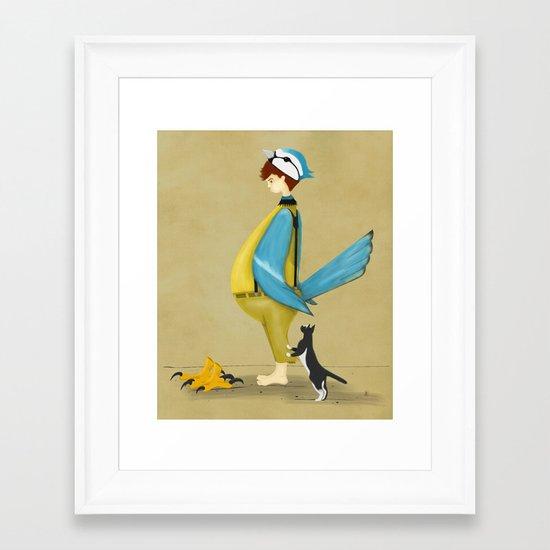 Blue Chickadee Framed Art Print